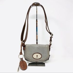 Grey leather Fossil Crossbody Bag